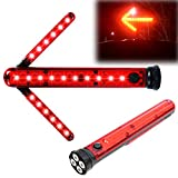 LED Road Flares Safety Turn Arrow Light Emergency Roadside Flashing Flares Safety Strobe Light - Road Warning Beacon, Detachable Magnetic, Unfolding Rotating blade, Emergency Car Kit, Battery Included
