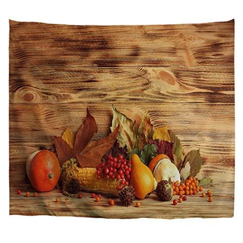 A.Monamour Wandteppiche Herbst Ernte Saison Blätter Beeren Gemüse Auf Holzboden Hintergr& Erntedankfest Kunst Stoff Hippie-Mandala-Wandteppich Wandkunst Wandbehang Tischdecke Tagesdecke 203x153cm