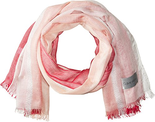 Calvin Klein Women's Chambray Colorblock Scarf, spring rose, One Size