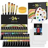 Magicfly Set de Pintura Acrílica 36 pcs, con 24 Pinturas en Tubo 12 ml, 6 Pinceles, 3 Lienzos, 1 Cuchillo, 1 Paleta, 1 Esponja, Pintura de Manualidades Lienzos Piedra Madera para Adultos Niños
