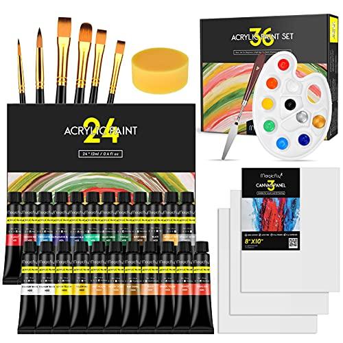 Magicfly Set di Colori Acrilici per Dipingere, 36 PCS, 24 Colori Acrilici 12 ml, 6 Pennelli, 3 Tela, 1 Coltello, 1 Tavolozza, 1 Spugna, Pittura Acrilica per Adulti Bambini, per Ceramica Tela Pietra