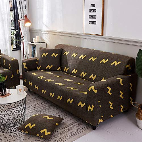 Funda Sofa 3 Plazas Ajustable Impresión En Amarillo Tostado Funda Elastica Sofa Chaise Longue Fundas Sofa Rinconera con Respaldo Antideslizante Protector de Muebles (190cm-230cm)