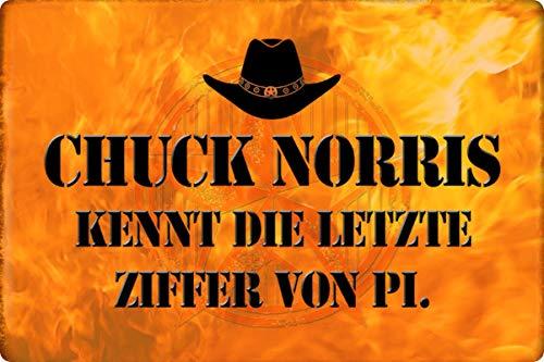 Metalen bord 30 x 20 cm Chuck Norris kent de laatste cijfer spreuk bord