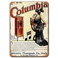コロンビアグラフォラ蓄音機ポスター、ヴィンテージメタルウォールアート1911年コロンビアグラフォラ蓄音機コーヒーのブリキの看板ホームバー男の洞窟の装飾8x12インチ