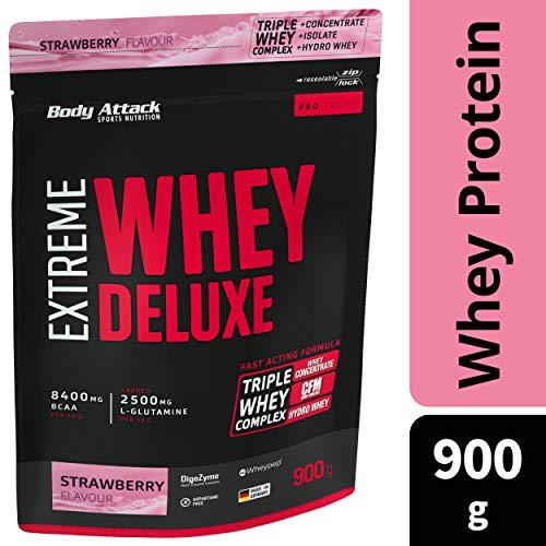 Body Attack Extreme Whey Protein Deluxe, Strawberry, 900g Dose Eiweißpulver