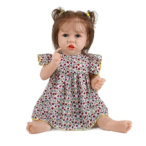 ZHANGZ Muñeca Reborn de 58 cm, muñeca de Vinilo de Silicona Suave para niña, muñeca de la Vida Real Hecha a Mano, Juguete para bebé recién Nacido y niña