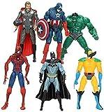Super Hero Adventures Figures Set of 6 PCS | Action Figure Set | Includes Batman, Hulk, Superman, Thor, Ironman & Captain America | PVC Figure Toy Dolls Legends Collectible Model | Hero Cake Topper