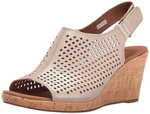 Rockport Women's Briah PERF Sling Wedge Sandal, Metallic Khaki Leather, 10 W US