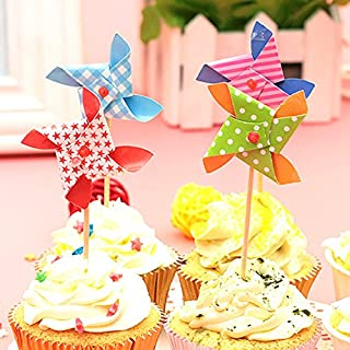 Windmill Cake Toppers with Toothpick Cake Happy Birthday Decoration