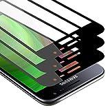 Cadorabo 3x Vollbild Panzer Folie kompatibel mit Samsung Galaxy J3 / J3 DUOS 2016 - Schutzfolie in TRANSPARENT mit SCHWARZ - 3er Pack Gehärtetes (Tempered) Bildschirm-Schutzglas in 9H Festigkeit mit 3D Touch