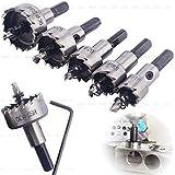 OriGlam Set de 5 brocas de corona de acero rápido, de 16-30 mm, herramientas de corte, de aleación de acero de alta velocidad
