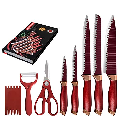 cuchillo de chef Vegetal 7PCS cuchillos de acero inoxidable Conjunto de tijeras de frutas pelador de cuchillos de cocina Caja de regalo de cortar Cuchillo Negro Rojo (Color : RED)