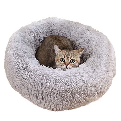 xqkj Tagged Cathouse Donuts - Cama De Gato Redonda para Mascotas, Bolsa De Dormir Perezosa Gatito Perro Sofá Cama, Puede Ser Usado para Dormir Caliente (Color : Light Grey, Size : 60cm)
