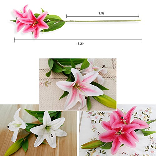 MEIWO Künstliche Blumen, 5 Stück Real Touch Latex Künstliche Lilien Blumen in Vasen Hochzeit Sträuße/Home Dekor/Party/Graves Arrangement(Rosa) - 3
