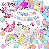 Unicornio Globos Cumpleaños Niñas, Juego Decoración Cumpleaños Unicornio Pastel con Enorme Globo Unicornio, Pancarta Cumpleaños Unicornio, Globos Macarrón para Bebés y Niñas, Cumpleaños de Princesa