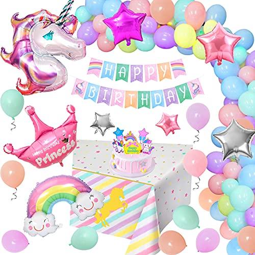 Globos Cumpleaños Unicornio Niña, Decoraciones Cumpleaños Unicornio Especiales con Pancarta...