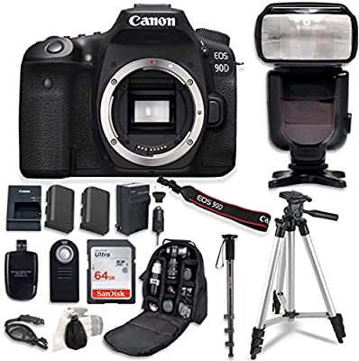 Canon EOS 90D Digital SLR Camera Bundle (Body Only) with Commander Optics Professional Accessory Bundle (14 Items) by Paging Zone - Canon Intl.