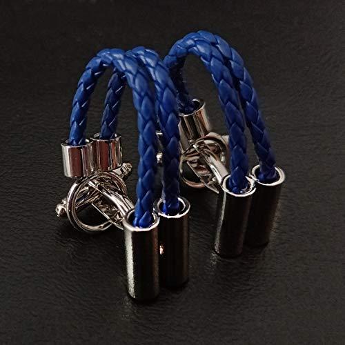 UYY Neuheit Runde Manschettenknöpfe für HerrenMarke hochwertige Blaue Leder Manschettenknöpfe Hemd Manschettenknöpfe Anzug Zubehör
