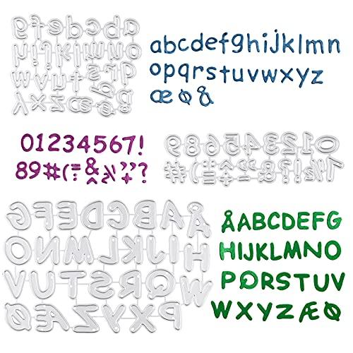 3 Set Stanzschablonen Buchstaben Zahlen Prägeschablonen Metall Stanzformen Scrapbooking Prägeschablonen Stanzformen Schablonen für DIY Papier Dekor