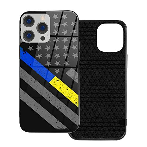 MEUYGOFLZ Compatible con iPhone 12 Pro Max, carcasa de cuerpo completo, carcasa de cristal TPU suave para iPhone 12 Pro Max 6.7 pulgadas, delgada línea azul dorada bandera de la policía despachador