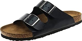 Cambridge Select Men's Classic Slip-On 2-Strap Buckle Flat Slide Sandal