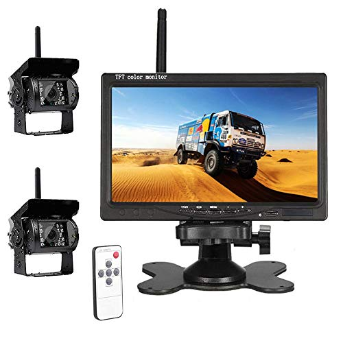 """Hodozzy Wireless Car Backup Camera, HD Dual Rear View Backup Camera for Truck, 7"""" Monitor System Kit for Bus/Trailer/RV/Campers Easy Installation Color Night Vision Waterpoof"""