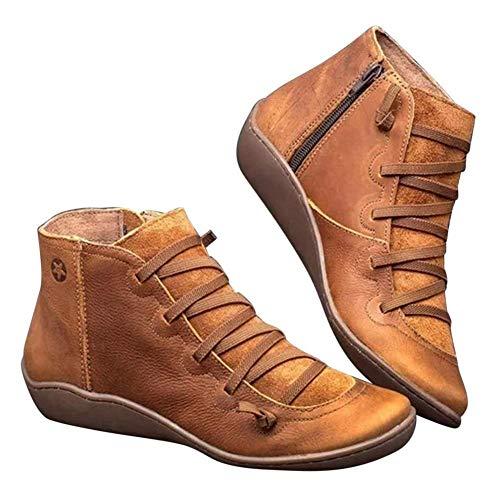 AITOCO la Ayuda de Arco Botas, Las Mujeres de los Cargadores de Cuero del Tobillo, Zapatos De Cordones De La Vendimia, Cómodo Talón Plano Botas con Cordones de la Cremallera Lateral Bota Corta