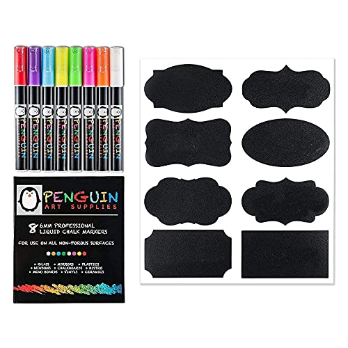 Chalk Markers 8 Colors With Bonus 24 Chalk Stickers - Premium Erasable Liquid Chalk Marker Pen with Reversible Tip - Perfect for Mason Jars Windows Glass Labels Whiteboards