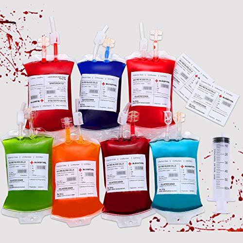 Dookey Halloween Trinkgefäß Blutbeutel, Perfekt als Halloween Requisit, Cosplay Zombie Party mit Spritze Clips Blutart Aufkleber, 10er Set