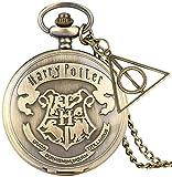 Hogwarts Crest Reloj bolsillo con colgante fob Escuela magia Fantástica Escuela reliquias la muerte Reloj Collar Joyas Colgante Hombres Estilo Steampunk Reliquias la muerte Reloj bolsillo regalos par