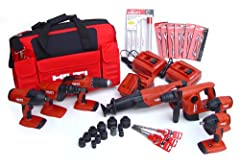 18 volts; all cordless tool Includes accessories as listed in description Great combination of powerful tools