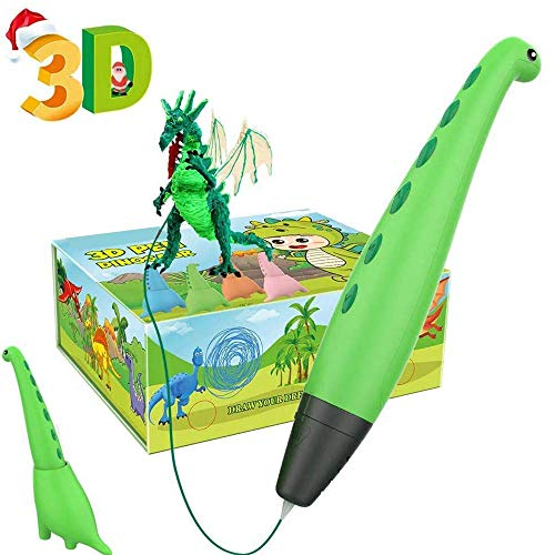 NMDD 3D Pen for Kids, Dinosaur Toys 3D Printing Pen Mini Printer Drawing Painting Art Set with 2 Speeds Safe Sleep Mode Easy Control