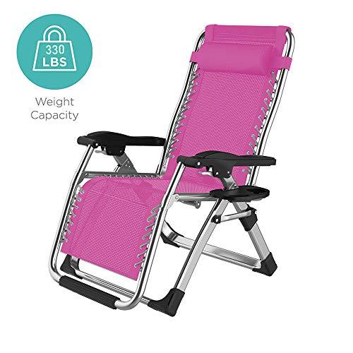 Wing - Silla reclinable reclinable para exteriores, con soporte para tazas, reclinable plegable de gran tamaño ajustable para patio, piscina o jardín, rosa, L
