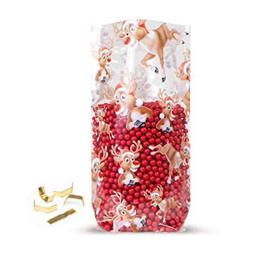 Elke Plastic Kreuzbodenbeutel 30 mµ mit Rentiermotiv & 100 Clipse I 145 x 235 I 100 Stück I Plätzchentüten Weihnachten I Weihnachtstüten zum Befüllen I Zellophan Tüten I Bodenbeutel Weihnachten