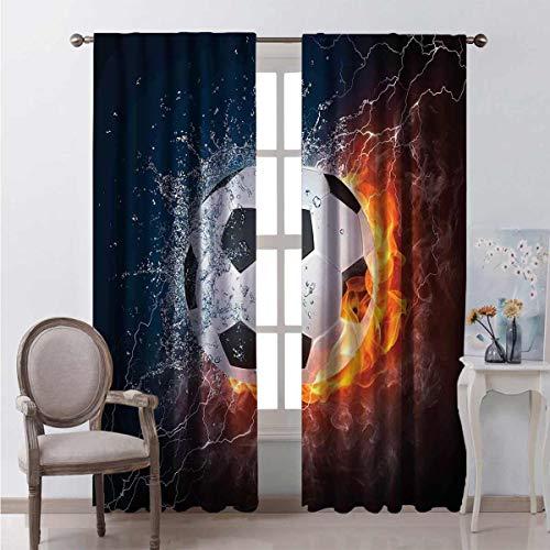 Decoración deportiva apagón cortina de fútbol bola en fuego y agua llama salpicadura trueno rayo abstracto 2 paneles W42 x L84 pulgadas
