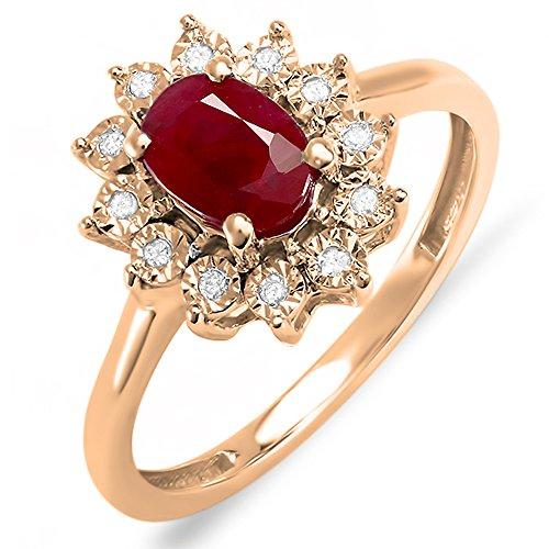Damen Ring Kate Middleton Diana Inspired 14 Karat Rose Gold Rund Diamant & Oval Red Echte Rubin Verlobungsring