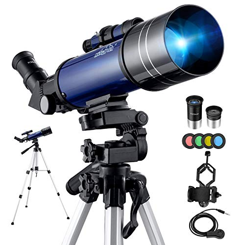 BEBANG Telescopio Astronómico, HD Telescopio de refracción de 70 mm con Adaptador de Teléfono, Filtro de Luna, 2 oculares, Ajustable Mochila y Trípode