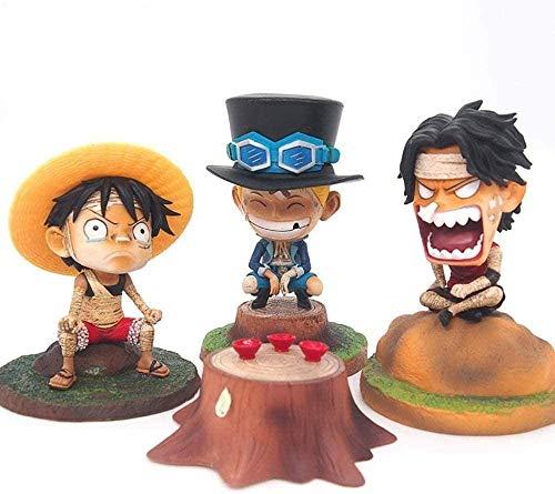 DHTOMC One Piece Bandage 3 Brüder Anime Modell Action-Figuren Kits Charaktere Souvenir 3 PC/Set PVC Modell Skulpturensammlung Geschenk Xping