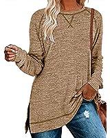 TEMOFON Womens Long Sleeve Shirts Side Split Loose Casual Tunic Tops Pullover Coffee L