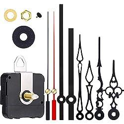 Hicarer 3 Pair Hands Quartz Clock Movement DIY Wall Clock Movement Mechanism DIY Repair Parts Replacement (Red, Black)