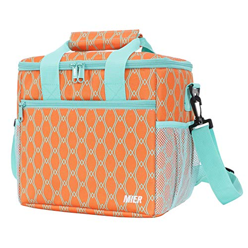 MIER 24 Can Large Capacity Soft Cooler Tote Insulated Lunch Bag Outdoor Picnic Bag Orange