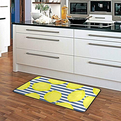 Kitchen Rugs Yellow Lemons With Blue Str Buy Online In El Salvador At Desertcart