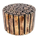 Inception Global Round Small Wooden Stool for Cafe Outdoor Furniture Picnic Garden Living Room Bedroom Kitchen Home Décor Foot...