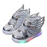 Baskets Montants garçons et Filles Mode LED Baskets Lumineuses Quatre Saisons Patins universels en Cuir Chaussures à roulettes décontractées avec Aile