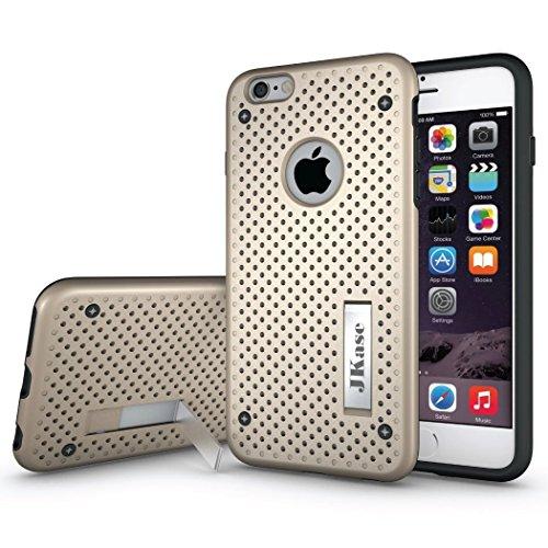 JKase Mesh Serie Tough Resistente Dual Protección de la Capa Funda Carcasas con Pata de Cabra para Apple iPhone 6S Plus/iPhone 6 Plus (Oro)