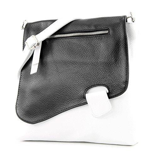 modamoda de - T146 - ital Messengertasche Umhängetasche aus Leder, Farbe:Weiß/Schwarz