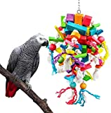 Acidea Pet Bird Chewing Toys, Parrot Cage Bite Toys Multicolored Natural Wooden Knots Blocks Waterfall Bird Tearing Entertaining Toys for Parakeets Budgie, Cockatiels, Conures and Love Birds