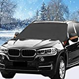 HEHUI Car Windshield Snow Cover, Large 87'x50' Windshield Cover, 4 Layers Windproof Cover for Ice Snow Frost Sun Protection, Waterproof Car Cover for All Season Protection, Fit Most Cars/Vans/SUVs