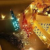 6 Stück LED Flaschenlicht, Sanniu 20 LEDs 2M Lichterkette Kupferdraht batteriebetriebene Weinflasche Lichter mit Kork Schnurlicht für DIY Deko Weihnachten Party Urlaub Stimmungslichter (Warmweiß) - 4