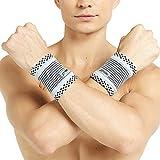 Neotech Care - Handgelenkbandage (1 Paar) - Bambusfaser-Strickgewebe - leicht, elastisch & atmungsaktiv - für Männer & Frauen - rechts oder links tragbar - Sport, Training, Fitnessstudio - Grau - M